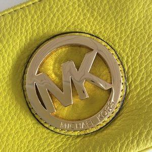 MICHAEL Michael Kors Bags - MICHAEL KORS NEON YELLOW LEATHER WRISTLET